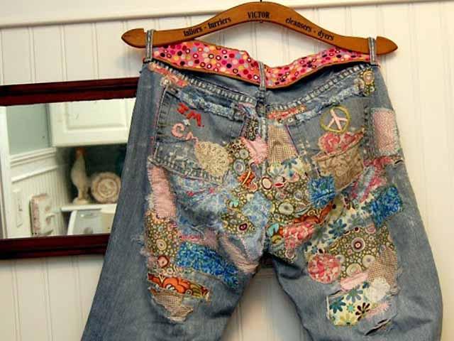 как зашить джинсы заплаткой