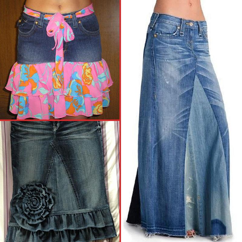 юбка из старых джинсов
