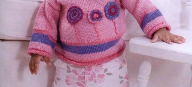 Детский свитер с узорами-леденцами