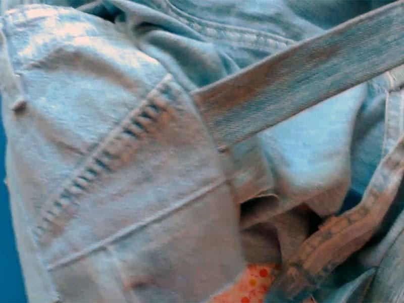 Ручки джинсового рюкзака