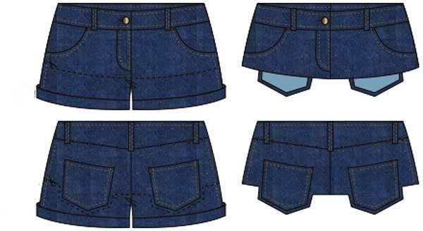 перешиваем шорты в юбку