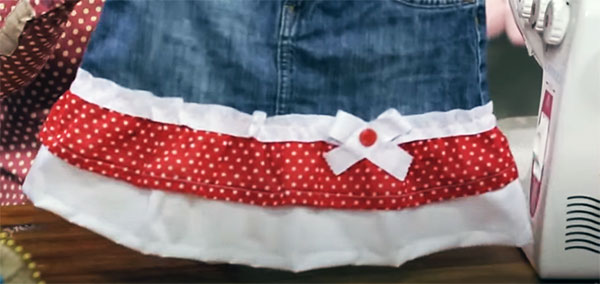 Удлинение детской юбки ярким подолом